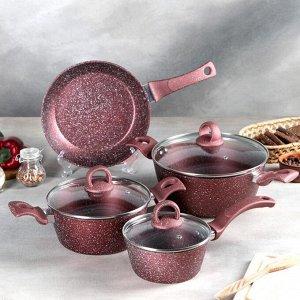 Набор посуды, 4 предмета: кастрюля d=20/24 см, ковш d=16 см, сковорода d=24, индукция, цвет бордовый
