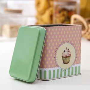 Банка для сыпучих продуктов прямоугольная Рязанская фабрика жестяной упаковки «Пирожные», 0,6 л