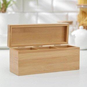 Ящик для чая BRAVO, 3 секции, бамбук, 21?7?9 см