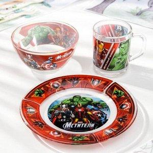 Набор детской посуды «Мстители», 3 предмета: кружка 250 мл, салатник 500 мл, тарелка d=13 см