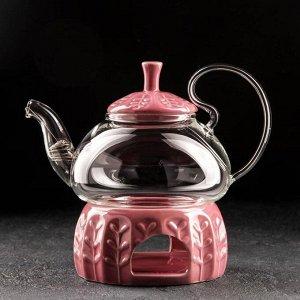 Чайник заварочный «Элегия», 600 мл, с металлическим ситом и подставкой для подогрева, цвет красный