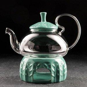 Чайник заварочный «Элегия», 600 мл, с металлическим ситом и подставкой для подогрева, цвет зелёный