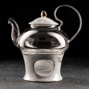 Чайник заварочный «Элегия», 600 мл, с металлическим ситом и подставкой для подогрева, цвет серый мрамор