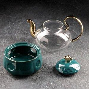 Чайник заварочный «Элегия», 600 мл, с металлическим ситом и подставкой для подогрева, цвет изумруд/золото