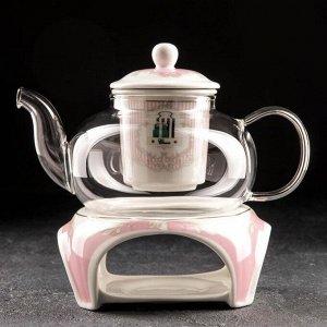 Чайник заварочный «Гламур», 650 мл, с керамическим ситом и подставкой для подогрева