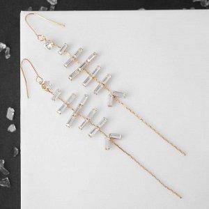 """Серьги висячие со стразами """"Ступеньки"""" длиная цепочка, цвет белый в золоте 5493833"""