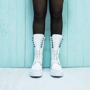 Белые кожаные ботинки МИЛИ24