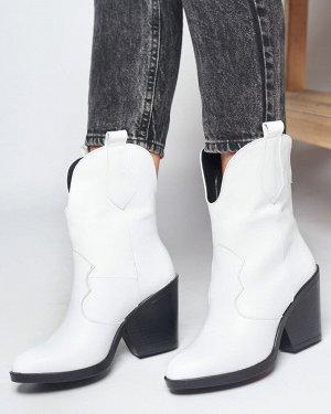 Белые кожаные ботильоны Kazak Ankle