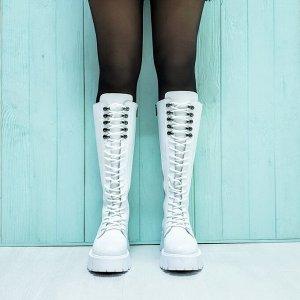 Белые кожаные высокие ботинки МИЛИ37