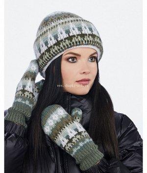 Шапка с большим отворотом двойка (шапка+рукавицы) Комплект