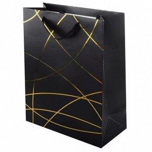 """Пакет подарочный  """"Черный с золотым тиснением"""""""