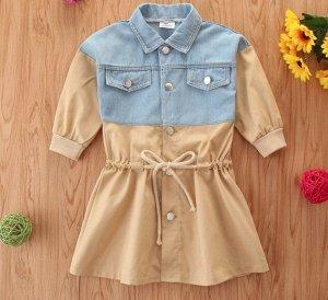 Детское платье, с джинсовой вставкой