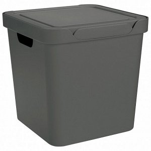 "Корзина для хранения с крышкой ""Luxe"" 28,6х28,6х28,6см, цв.серый 433242611"
