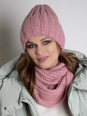 Шапка женская крупной вязки с отворотом, коса + снуд, тускло-розовый