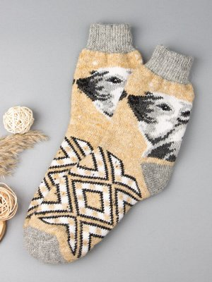 Носки шерстяные мужские, белый медведь, пшеничный