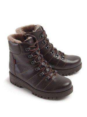 Ботинки зимние женские, коричневая кожа