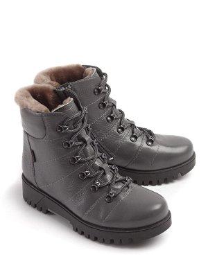 Ботинки зимние женские, серая кожа