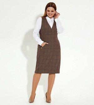 Сарафан Рост: 164 см. Состав ткани: Полиэстер/polyester 64%; вискоза/viscose 33%; эластан/elastane 3%. Повседневный сарафан из мягкой костюмной ткани. Прилегающий силуэт сарафана мягко подчёркивает фи