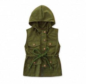 Детский жилет с капюшоном, зеленый