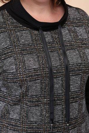 Туника Туника Linia-L Б-1784  Состав: Вискоза--%; ПЭ--%; Спандекс--%; Эластан--%; Сезон: Осень-Зима Рост: 164  Полотно трикотажное (клетка) -- 96% полиэстер, 4% эластанПолотно трикотажное (черное) --