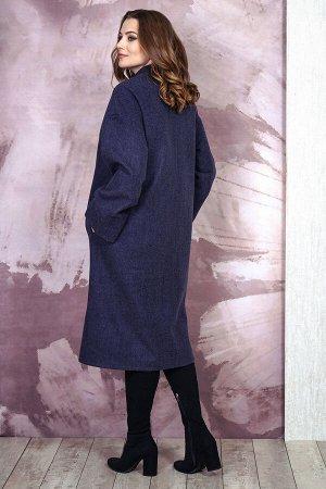 Пальто Пальто Белтрикотаж 6756 синий  Состав: ПЭ-30%; Шерсть-65%; Кашемир-5%; Сезон: Осень-Зима Рост: 164  Пальто прямого силуэта ,со спущенным плечем, с центральной застежкой на 5 пришивных кнопок.Н