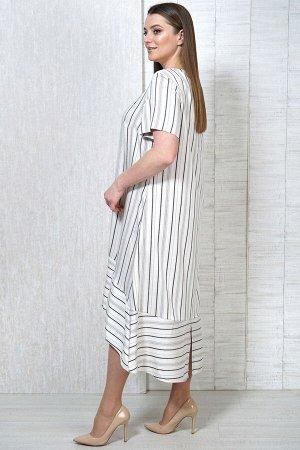 Платье Платье Белтрикотаж 7750 полоска  Состав: Вискоза-33%; ПЭ-64%; Эластан-3%; Сезон: Лето Рост: 164  Платье удлиненное, расклешенное к низу. По низу платья притачной волан. В боковых швах внутренн