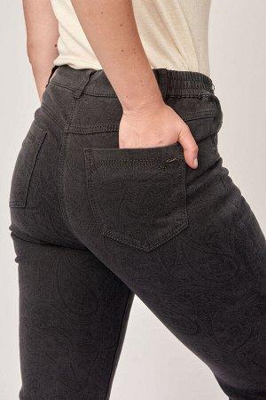 Слегка приуженные серые с принтом джинсы на БАЙКЕ M-BL73123-1551M-6-B379 рр 52