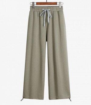 Хлопковые женские брюки, цвет олива