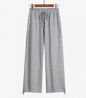 Хлопковые женские брюки, цвет серый меланж