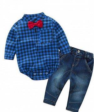 """Детский костюм для мальчика, джинсы и боди, принт """"Клетка"""""""