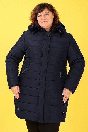 Пальто зимнее с капюшоном с мехомтемно-синий