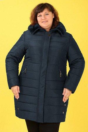 Пальто зимнее с капюшоном с мехомтемно-бирюзовый
