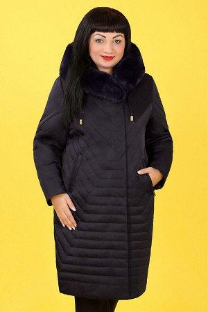 Пальто зимнее с капюшоном и меховой отделкойтемно-коричневый