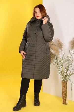 Пальто зимнее с капюшоном и меховой отделкойоливковый