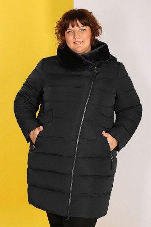Пальто с капюшоном больших размеров женскоечерный