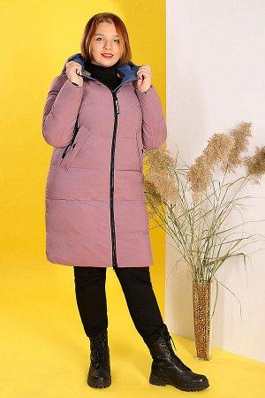 Пальто зимнее с капюшоном сиреневоесиреневый