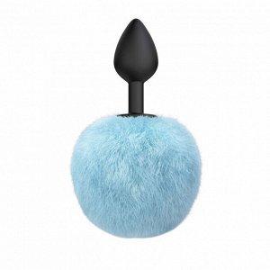 Анальная пробка с голубым хвостиком Emotions Fluffy Blue