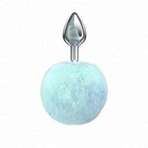 Металлическая анальная пробка с голубым хвостиком Diamond Twinkle Blue