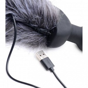Мощная анальная вибро-пробка TAILZ с белым лисьим хвостом White Fox Tail Anal Plug (7 реж, 3 скорости)