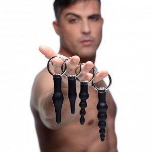 Набор анальных стимуляторов 4 Piece Silicone Anal Ringed Rimmer Set