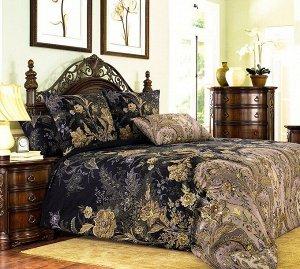 Комплект постельного белья 2-спальный с Евро простыней, перкаль (Музей, коричневый)