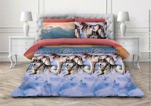 Комплект постельного белья 2-спальный, бязь ГОСТ (Волки 3 D)