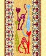 Полотенце 48*60 см вафельное (Египетские кошки, вид 1)