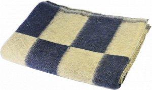 Одеяло полушерстяное 100*140 см. Плотность 600г/м2 (Крупная клетка, темно-синий)