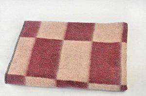Одеяло полушерстяное 100*140 см. Плотность 600г/м2 (Крупная клетка, бордовый)
