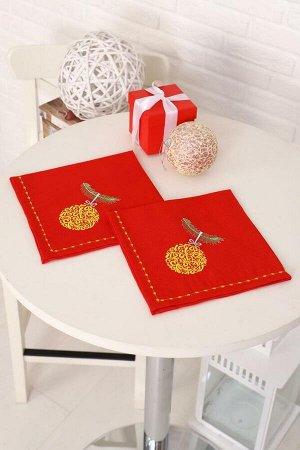 Комплект из 2 льняных салфеток с вышивкой, лен 100 % (Рождественское чудо, красный)