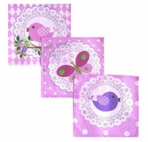 Комплект детских носовых платков 18*18см, 10 шт., Шуйский ситец (Кружевное, розовый)
