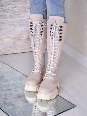 Бежевые кожаные высокие ботинки МИЛИ37