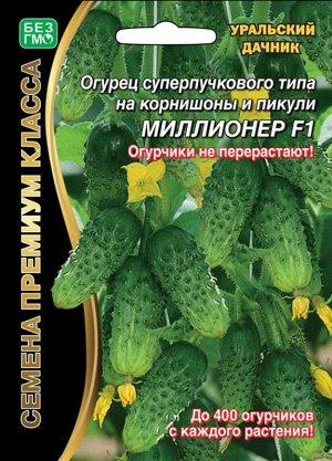 Огурец Миллионер F1 ® (УД) (до 400 огурчиков!8-12см.до 10 завязей в узле,раннеспелый,очень урожайный суперпучковый корнишон,для выращивания в открытом грунте,весенних теплицах,тоннелях,устойчив к боле