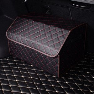 Органайзер в багажник черный с красной стежкой, 50л (58*30*29)